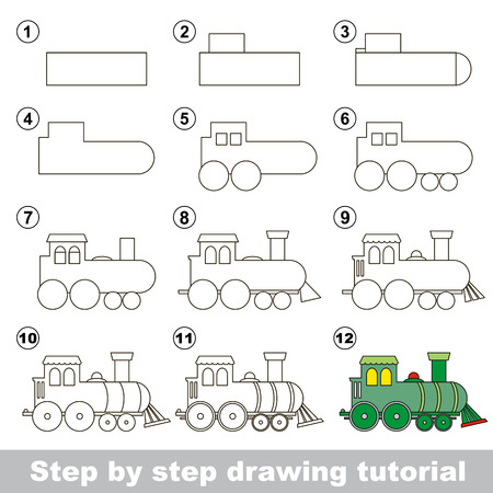 jeu visuel pour les enfants. Comment dessiner une locomotive