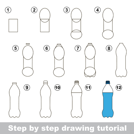 visual: Visual game for kids. How to draw a Bottle Illustration