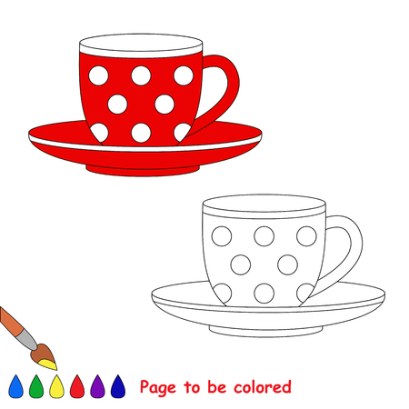 red cup: Red Cup to be colored. Coloring book for children. Visual game. Illustration