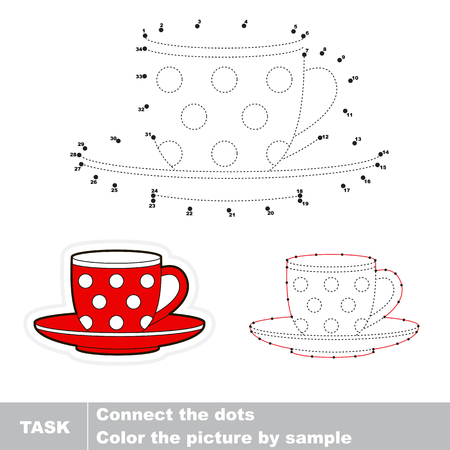 visual: Red Cup in vector to be traced by numbers. Vector visual game. Illustration