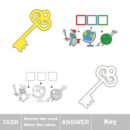 Vector Rebus gioco. Trovare soluzione e scrivere la parola chiave nascosta Vettoriali