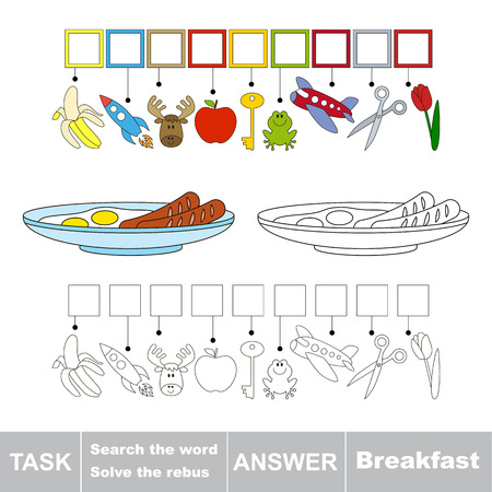 Vector rebus game. Find solution and write the hidden word Breakfast