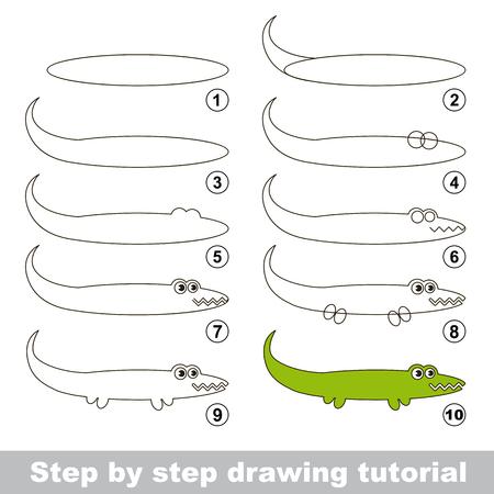 Paso a paso tutorial de dibujo. juego visual para los niños. Cómo dibujar un cocodrilo
