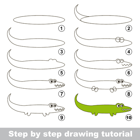 Step by step drawing tutorial. Visual game for kids. How to draw an Alligator Ilustração
