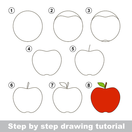 develope: Step by step drawing tutorial. Visual game for kids. How to draw an Apple