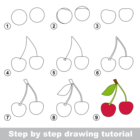 Step by step drawing tutorial. Visual game for kids. How to draw a Cherry