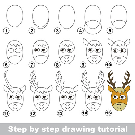 Step by step drawing tutorial. Visual game for kids. How to draw a Deer Head Ilustração