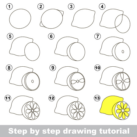 develope: Step by step drawing tutorial. Visual game for kids. How to draw a Lemon