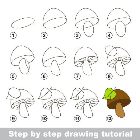 Etape par étape dessin tutoriel. jeu visuel pour les enfants. Comment dessiner un champignon