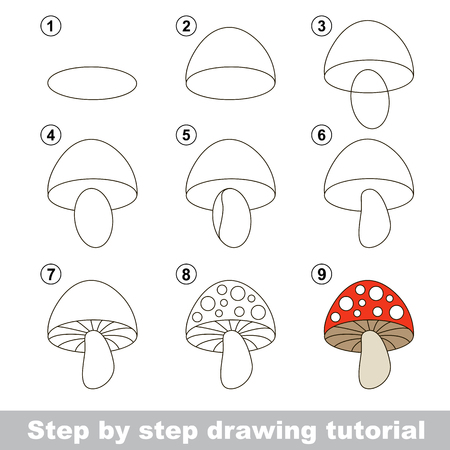 Step by step drawing tutorial. Visual game for kids. How to draw a Stoadtool