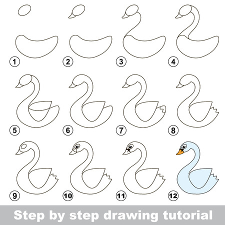 Step by step drawing tutorial. Visual game for kids. How to draw a White Swan Ilustração