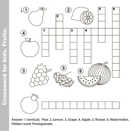 crossword: Fruit crossword for kids. Task and answer. Colorless version.