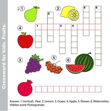 crossword: Fruit crossword for kids. Task and answer. Colorful version.