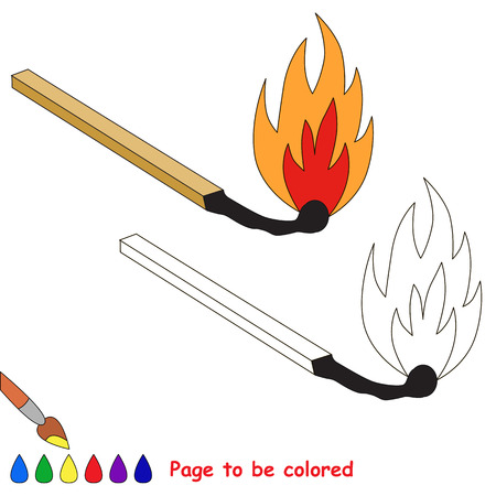 conflagration: Match in to be colored. Coloring book for children. Visual game.