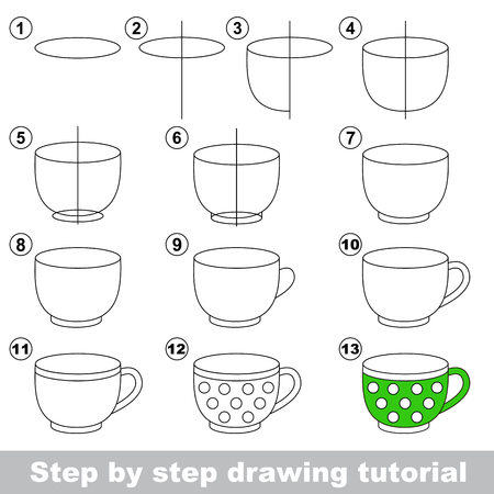 Big tea cup. Step by step drawing tutorial. Ilustração