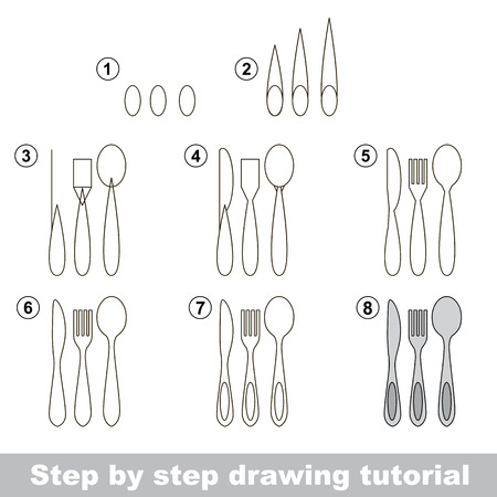 Tableware. Fonk and knife and spoon. Step by step drawing tutorial. Ilustração