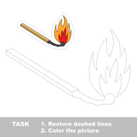conflagration: Match in vector to be traced. Restore dashed line and color the picture.