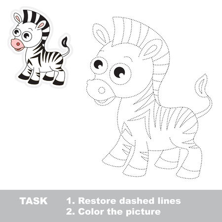 joining the dots: Zebra in vector to be traced. Restore dashed line and color the picture. Illustration
