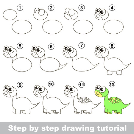 brontosaurus: How to draw the funny brontosaurus. Drawing tutorial for children. Illustration