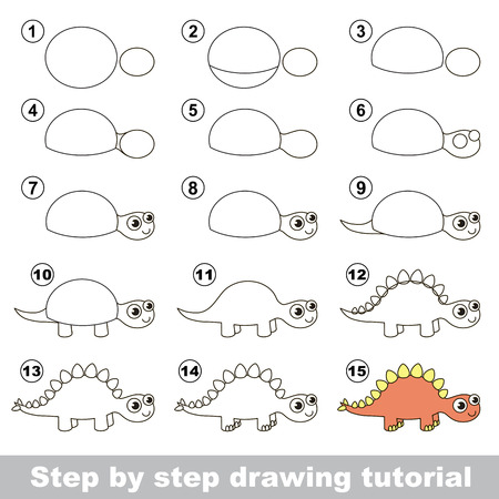 How to draw the cute Stegosaurus. Drawing tutorial for children.