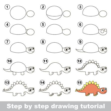 stegosaurus: How to draw the cute Stegosaurus. Drawing tutorial for children. Illustration