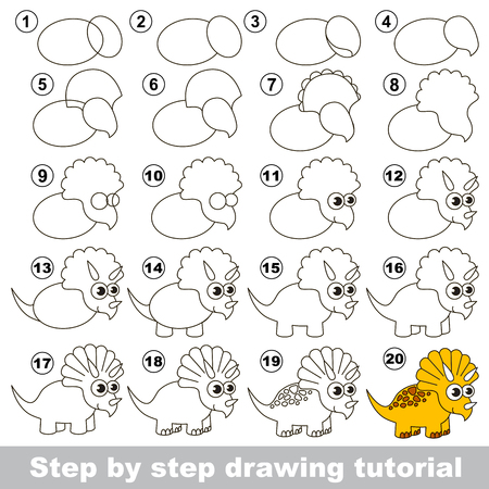 triceratops: How to draw the cute Triceratops. Drawing tutorial for children.
