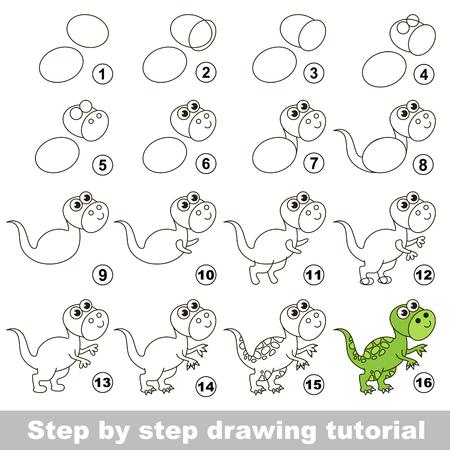 Cómo dibujar el Tyrannosaurus divertido. Tutorial de dibujo para los niños. Ilustración de vector