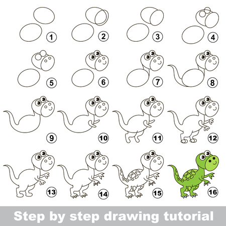 How to draw the funny Tyrannosaurus. Drawing tutorial for children.