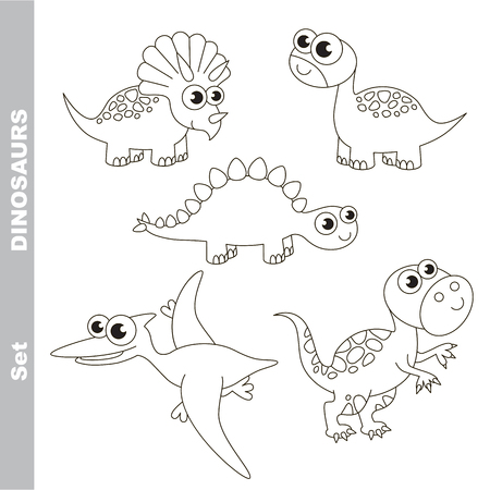 Dino set in vector, the colorless version. Ilustração