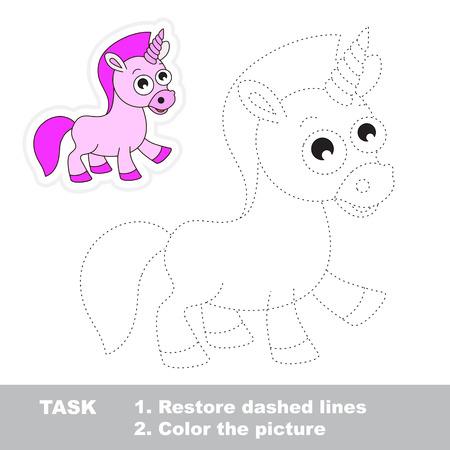 추적 할 벡터에서 유니콘. 파선을 복원하고 그림에 색을 칠하십시오. 어린이 추적 게임.