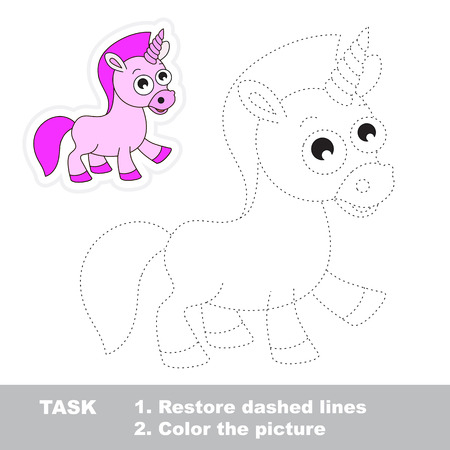 dashed line: Unicorn in vector to be traced. Restore dashed line and color the picture. Trace game for children.