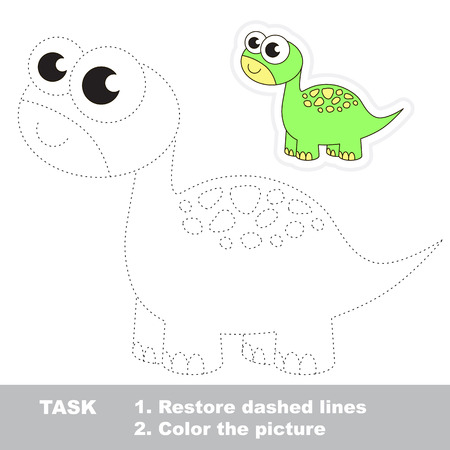 Brontosaurus in vector to be traced. Restore dashed line and color the picture. Trace game for children. Ilustração Vetorial