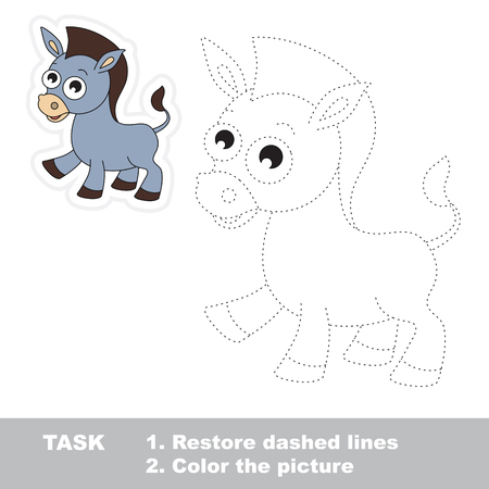 dashed line: Funny donkey in vector to be traced. Restore dashed line and color the picture. Trace game for children.