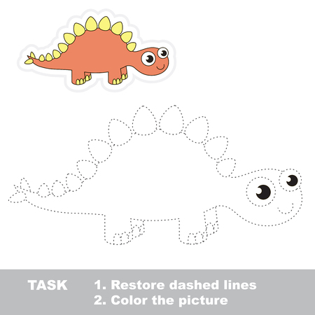 restore: Cute stegosaurus in vector to be traced. Restore dashed line and color the picture. Trace game for children.