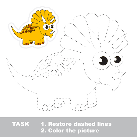 Triceratops in vector to be traced. Restore dashed line and color the picture. Trace game for children.
