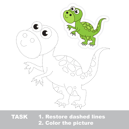 Tyrannosaurus in vector to be traced. Restore dashed line and color the picture. Trace game for children. Ilustração Vetorial