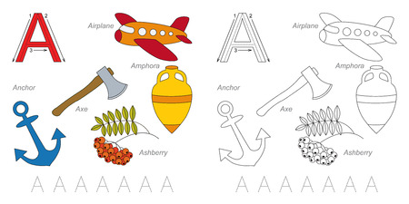 ashberry: Tracing Worksheet for children. Full english alphabet from A to Z, pictures for letter A Illustration