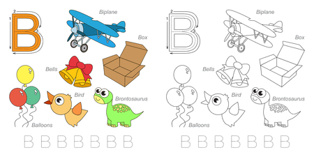 tracing: Tracing Worksheet for children. Full english alphabet from A to Z, pictures for letter B