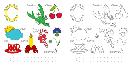 letter alphabet pictures: Tracing Worksheet for children. Full english alphabet from A to Z, pictures for letter C Illustration