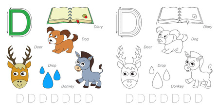 tracing: Tracing Worksheet for children. Full english alphabet from A to Z, pictures for letter D