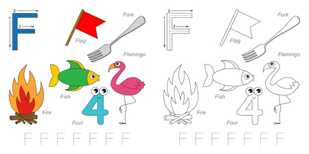 tracing: Tracing Worksheet for children. Full english alphabet from A to Z, pictures for letter F