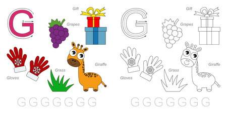 g giraffe: Tracing Worksheet for children. Full english alphabet from A to Z, pictures for letter G
