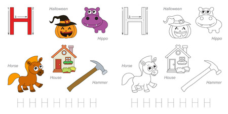 hause: Tracing Worksheet for children. Full english alphabet from A to Z, pictures for letter H