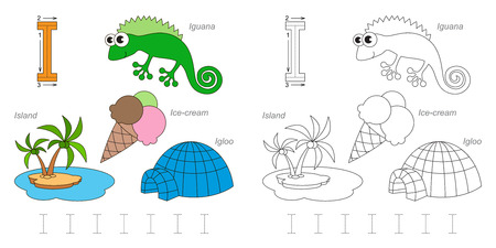 Tracing Worksheet for children. Full english alphabet from A to Z, pictures for letter I Ilustração