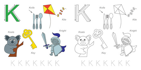 tracing: Tracing Worksheet for children. Full english alphabet from A to Z, pictures for letter K
