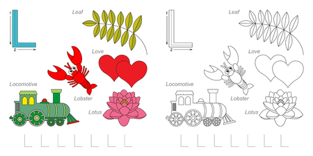 letter alphabet pictures: Tracing Worksheet for children. Full english alphabet from A to Z, pictures for letter L