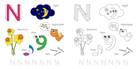 letter alphabet pictures: Tracing Worksheet for children. Full english alphabet from A to Z, pictures for letter N, the colorful version.