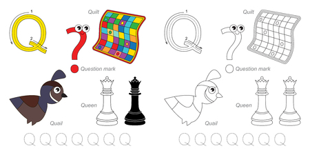 Tracing Worksheet for children. Full english alphabet from A to Z, pictures for letter Q