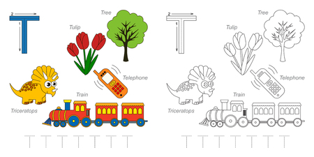 Tracing Worksheet for children. Full english alphabet from A to Z, pictures for letter T Illustration