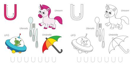 Hoja de trabajo de rastreo para los niños. Inglés alfabeto completo de la A a la Z, imágenes de la letra U